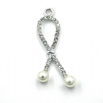 15mm x 39mm Ribbon pearl charm set with crystals